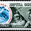 USSR - CIRCA 1976: A stamp printed in the USSR shows the space ship Soyuz-22 and Cosmonauts Valery Bykovsky and Vladimir Aksyonov, circa 1976 — Stock Photo #12170321