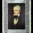 CUBA - CIRCA 1987: A stamp printed in Cuba shows draw by artist Sir Walter S - Portrait of Sir John W Gordon, circa 1987 - Stock Photo