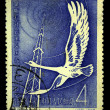 CHINA - CIRCA 1958: A stamp printed in China shows Stork and radio tower, circa 1958. — Stock Photo