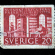 SWEDEN - CIRCA 1961: A stamp printed in Sweeden shows Swedish pressure from the press to the library — Stock Photo