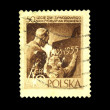 POLAND - CIRC1955: stamp printed in Poland shows teacher observes student who wrote on blackboard, circ1955 — Stock Photo #12170476