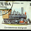Stock Photo: CUB- CIRC1980: Stamp printed in Cubshows antique locomotive 2-4-0, series, circ1980