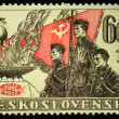 A Stamp printed in Czechoslovakia shows three soldiers, circa 1958 — Stock Photo #12170516