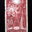 Stamp of Czechoslovakia. Man in the Universe. - Stock Photo