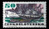 """CHEKHOSLOVAKIA - CIRCA 1972: A Stamp printed in Chekhoslovakia shows ship """"Jiskra"""", circa 1972 — Foto de Stock"""