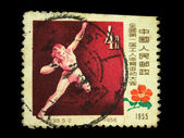 CHINA - CIRCA 1955: A stamp printed in China shows shot putter, circa 1955 — Stock Photo