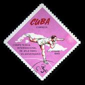 куба - около 1965: марку, напечатанную на кубе показывает соревнования в толкании, около 1965 — Стоковое фото