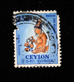 CEYLON - CIRCA 1960s: A stamp printed in Ceylon (present time Sri Lanka) shows Sigiriya fresco, circa 1960s — Stock Photo