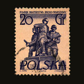 POLAND - CIRCA 1950s: A stamp printed in Poland shows monument of Soldiers-brothers - Warsaw, circa 1950s — Stockfoto