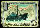 USSR-CIRCA 1984: A stamp printed in USSR shows Soviet steamship Chelyuskin, circa 1984 — Foto Stock