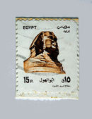 "EGYPT - CIRCA 1993: A stamp printed in Egypt shows a Sphinx sculpture from Giza with the inscription ""Sphinx"" from the series ""Historical art and carvings"", circa 1993 — Stock Photo"