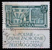 POLAND - CIRCA 1950s: A stamp printed in Poland shows Spinning Mill, circa 1950s — Stock Photo