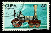 CUBA - CIRCA 1988: A stamp printed in Cuba shows steam locomotive, circa 1988 — Stock Photo