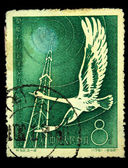 CHINA - CIRCA 1958: A stamp printed in China shows Stork and radio tower, circa 1958. — Photo