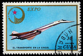 FRANCE - CIRCA 1965: A stamp printed in France shows the passenger airplane Caravelle, circa 1965 — Stock Photo