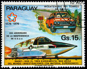 PARAGUAY - CIRCA 1976: A stamp printed in Paraguay shows supersonic car and truck, circa 1976 — Stock Photo