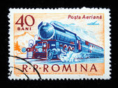 ROMANIA - CIRCA 1963: A stamp printed in Romania shows image of a train, circa 1963 — Stock Photo