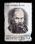 USSR - CIRCA 1964 stamp printed in USSR shows Shevchenko portrait (Ukrainian poet) with inscription T.G. Shevchenko, 1814-1861 , series 150th anniversary of Taras Shevchenko birthday, circa 1964 — 图库照片