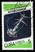 CUBA - CIRCA 1987: stamp printed by Cuba, shows Soviet space program Intercosmos, circa 1987. — Zdjęcie stockowe