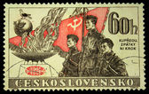 A Stamp printed in Czechoslovakia shows three soldiers, circa 1958 — Stock Photo