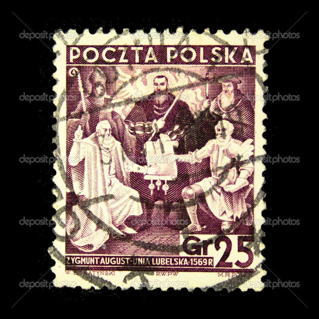 Stamp printed in the Poland shows Treaty of Lublin, Union of the Kingdom of Poland and the Grand Duchy of Lithuania, circa 1938  Stock Photo #12170937