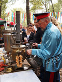Cossacks prepearing tea — Stock Photo