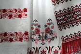Ukrainian embroidered towels — Stock Photo