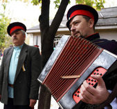 Cossack singing old songs with garmon — Stock Photo