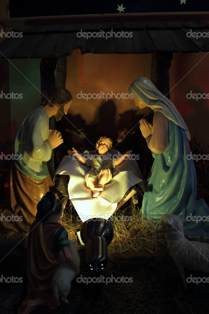 Christmas, nativity scene, Jesus Christ, Mary and Josef   Stock Photo #18101225