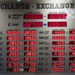 Stock Photo: Display of currency rates at exchange office