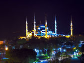 Sultan Ahmed Mosque at night — Stock Photo