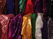 Multicolored shiny oriental fabric — Stock Photo