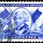 Постер, плакат: Arrival of Lafayette in America