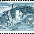"Stock Photo: Sod Hut and Settlers, from series ""Homestead Act Centenary"""