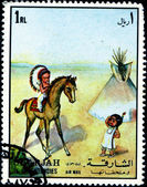Stamp printed by Sharjah — Stockfoto