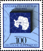 Map of Antarctic, 20th anniversary of Antarctic treaty — Stock Photo