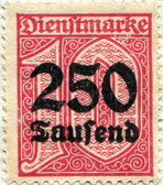 Overprinting 250 made in 1923 — Stock Photo