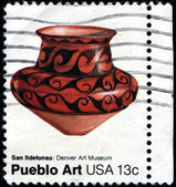 Pottery of San Ildefonso tribe, Pueblo art from Denver Art Museu — Stock Photo