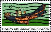 Haida ceremonial canoe — Stock Photo