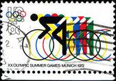 Cyklistika a olympijské kruhy — Stock fotografie