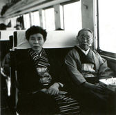 Two women in kimono in a train — Stock Photo