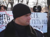 Rally against the Russian occupation of Crimea — Stock Photo