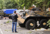 Militants seized an armored personnel carrier — Stock Photo