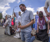 Believers pray for peace in Luhansk in the lap — ストック写真