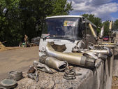 Pro-Russian insurgents checkpoint, Luhansk — Stock Photo