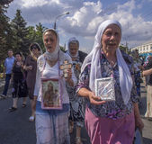 Orthodox Religious procession for peace in Luhansk — Stock Photo