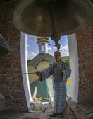 Bell ringer in the bell tower — Stock Photo