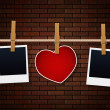 Photo Frames And Heart On Rope — Stock Photo