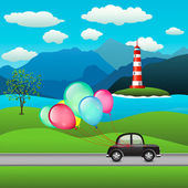 Black car and festive balloons — Stock Vector