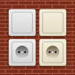 Sockets and switches - Stock Vector